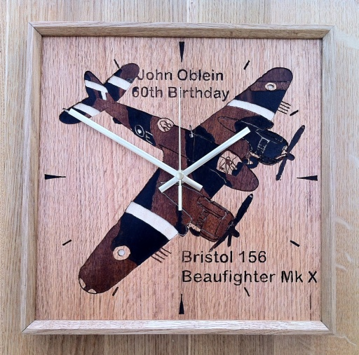 Marquetry Beaufighter on Oak Faced MDF and Oak Frame