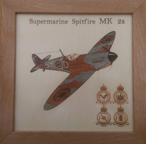 Marquetry Spitfire on Birch Ply and Oak Frame